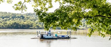 Augusta Kentucky Ferry Crossing Ohio River. Augusta Ferry Launching on the Ohio River stock photos