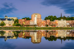 Augusta, Maine River. Augusta, Maine, USA downtown skyline on the Kennebec River Royalty Free Stock Image