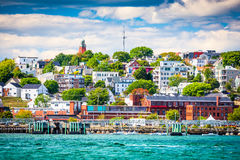 Augusta, Maine Skyline. Augusta, Maine, USA coastal townscape royalty free stock photography