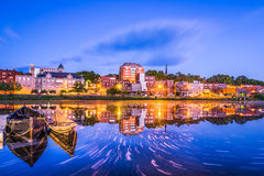 Augusta, Maine, USA. Downtown skyline on the Kennebec River royalty free stock image
