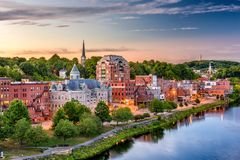Augusta, Maine, USA. Downtown skyline on the Kennebec River Royalty Free Stock Photos