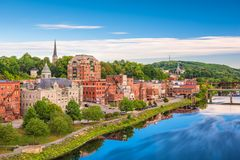 Augusta, Maine, USA Skyline. On the river royalty free stock image
