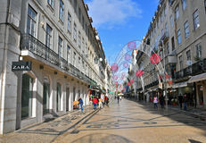 Augusta shopping street, Lisbon Royalty Free Stock Photography