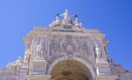 Augusta-Straßenbogen in Lissabon rief ACRO DA Rua Augusta an Stockfotos