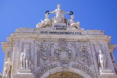 Augusta-Straßenbogen in Lissabon rief ACRO DA Rua Augusta an Stockfotografie