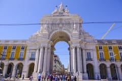 Augusta-Straßenbogen in Lissabon rief ACRO DA Rua Augusta an Lizenzfreies Stockbild