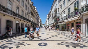 Augusta Street in the Baixa District in Lisbon Royalty Free Stock Image