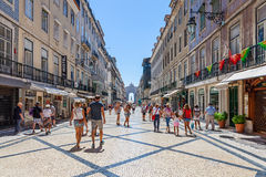 Augusta Street, Lisbon. Lisbon, Portugal. August 31, 2014: Augusta Street with the Triumphal Arch seen at the end of it connecting the most famous Lisbon street royalty free stock photos