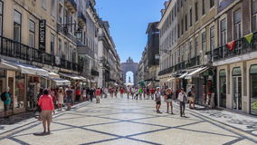 Augusta Street with the Triumphal Arch. Lisbon stock video footage