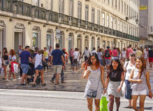 Augusta street view in Lisbon. LISBON, PORTUGAL - 2017 stock image