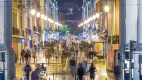 Augusta Street vista a través el timelapse de la noche del arco triunfal almacen de metraje de vídeo