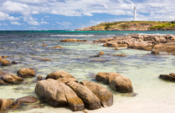 Augusta Western Australia wa. Beach at Cape Leeuwin with the lighthouse in the distance, Augusta Western Australia wa stock photography