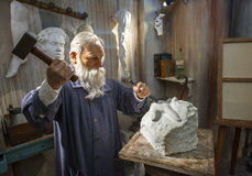 Auguste Rene Rodin Wax Figure images stock