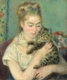 Auguste Renoir - женщина с котом стоковые фотографии rf