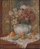 Auguste Renoir - неподвижная жизнь с цветками и колючими грушами стоковые фото