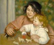 Auguste Renoir - barn med leksaker - Gabrielle And The Artist S son royaltyfri foto