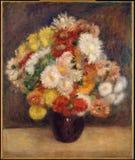 Auguste Renoir - Blumenstrauß von Chrysanthemen lizenzfreie stockfotos