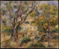 Auguste Renoir - a exploração agrícola em Les Collettes, Cagnes fotos de stock