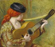 Auguste Renoir - giovane donna spagnola con una chitarra fotografie stock
