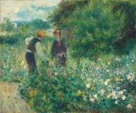 Auguste Renoir - het Plukken Bloemen royalty-vrije stock afbeeldingen