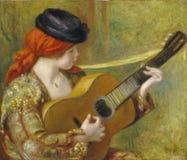Auguste Renoir - młoda Hiszpańska kobieta Z gitarą zdjęcia stock