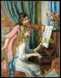 Auguste Renoir - två unga flickor på pianot arkivfoton