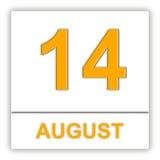 Augusti 14 Dag på kalendern Fotografering för Bildbyråer