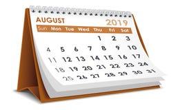 Augusti 2019 kalender stock illustrationer