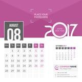 Augusti 2017 Kalender 2017 Royaltyfri Foto