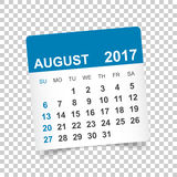 Augusti 2017 kalender royaltyfri illustrationer