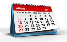 Augusti 2017 kalender Royaltyfri Foto