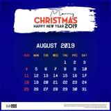 Augusti 2019 kalendermall Glad jul och det lyckliga nya ?ret sl?sar bakgrund stock illustrationer