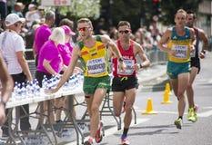 6 Augusti ` 17 - maraton för mästerskap för London världsfriidrott: Ignas TÄNDA, Leslie Enchina CHI och Josh Harris Brasevicius A Royaltyfria Bilder