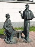 Augusti 2016, Moskva, Ryssland Monument till Sherlock Holmes och dren Watson nära den brittiska ambassaden Arkivfoton