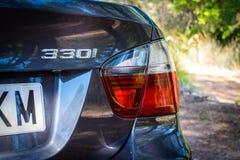 Augusti 2017: Mousserande grafit för BMW 3 serie E90 330i royaltyfria foton