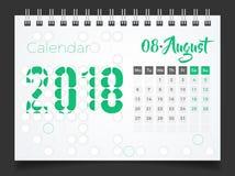 Augusti 2018 Skrivbordkalender 2018 Fotografering för Bildbyråer