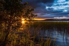Augusti solnedgång Arkivfoton