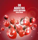 Augusti 30, Victory Day Turkish Speak 0 Agustos, Zafer Bayrami Kutlu Olsun också vektor för coreldrawillustration Royaltyfria Foton