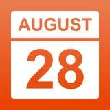 Augusti 28 Vit kalender p? en kul?r bakgrund Dag p? kalendern Tjugo-åttondel av august röd bakgrund med lutning vektor illustrationer