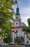 Augustinian church, Tabor, Czech republic. Augustinian church is located in the historic center of Tabor city, Czech republic Stock Photo