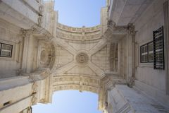 Augusto Arch. 31 May 2015, Lisbon, Portugal. The Augusto Arch on Augusto street in Lisbon Stock Images