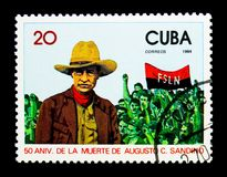 Augusto C. Sandino (1893-1934), Nicaraguan Revolutionary, serie,. MOSCOW, RUSSIA - NOVEMBER 25, 2017: A stamp printed in Cuba shows Augusto C. Sandino (1893-1934 Royalty Free Stock Photography