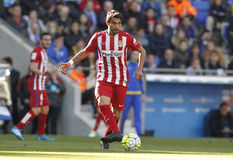 Augusto Fernandez of Atletico Madrid. During a Spanish League match against RCD Espanyol at the Power8 stadium on April 9, 2016 in Barcelona, Spain Stock Photos