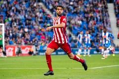 Augusto plays at the La Liga match between RCD Espanyol and Atletico de Madrid. BARCELONA, SPAIN - APR 9: Augusto plays at the La Liga match between RCD Espanyol Stock Photo