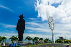 Augusto Sandino next to a Tree of Life. The silhouette of Augusto Sandino next to a tree of life in the Parque Historico in Managua Nicaragua Stock Image