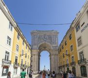 Augusto Street and Arch in Lisbon. Lisbon, Portugal. 31 May 2015. The Augusto Arch on Augusto street in Lisbon Royalty Free Stock Images