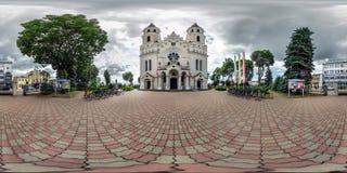 AUGUSTOW, POLAND - JULY 2019: full seamless spherical hdri panorama 360 degrees angle view near gothic catholic basilica of saints royalty free stock photos