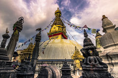 19 augustus, 2014 - Aaptempel Stupa in Katmandu, Nepal Royalty-vrije Stock Afbeeldingen