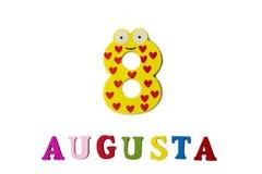 8 augustus Beeld van 8 Augustus, close-up van getallen en letters op witte achtergrond Stock Foto