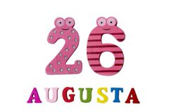 26 augustus Beeld van 26 Augustus, close-up van getallen en letters op witte achtergrond Royalty-vrije Stock Foto
